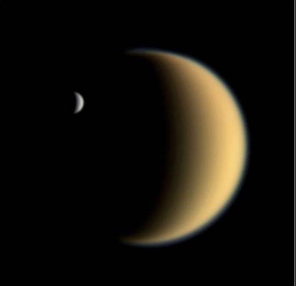 Two of Saturn's moons