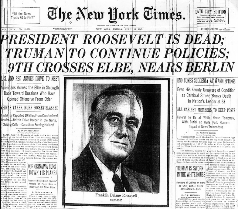 NYTimes on April 12, 1945