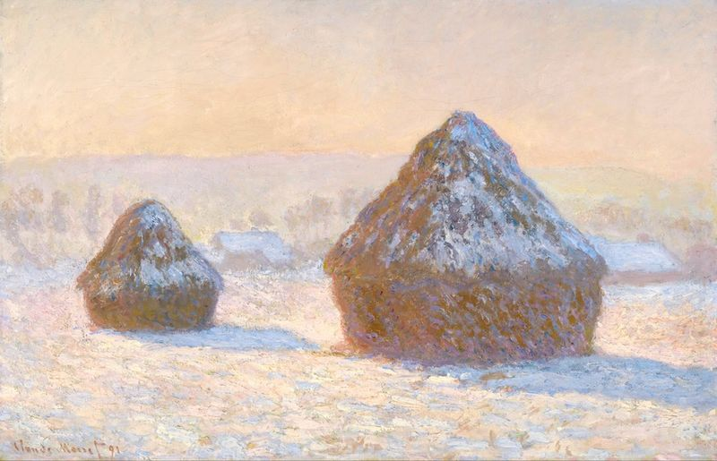 Monet wheatstacks in snow